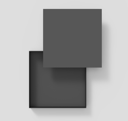 contain: black blank paper open box with floating lid on the upper right, isolated gray background, 3d rendering top view Stock Photo