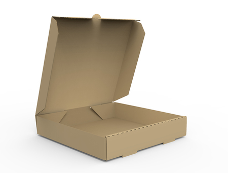 3d rendering right tilt open blank brown pizza box, isolated white background, side view