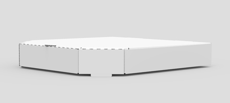 3d rendering white blank left tilt closed pizza box, isolated gray background side view