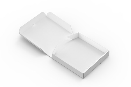 3d rendering white blank right tilt open pizza box, isolated white background elevated view