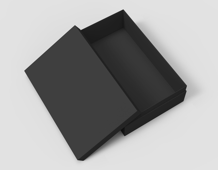 contain: 3d rendering black right tilt blank half open box with lid, isolated light gray background elevated view Stock Photo