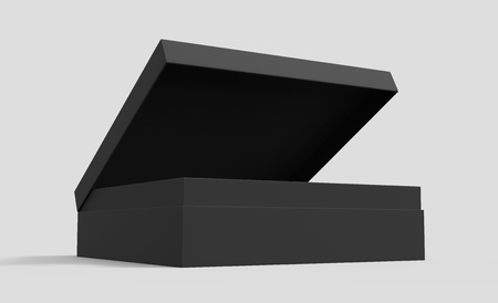 opening black blank paper box with lid, isolated gray background, 3d rendering elevated view 版權商用圖片