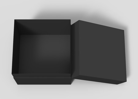black blank paper open box with lid, isolated gray background, 3d rendering top view