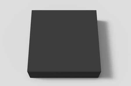 black blank closed paper box with lid, isolated gray background, 3d rendering top view