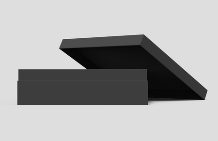 black blank paper open box with leaning lid, isolated gray background, 3d rendering side view 版權商用圖片