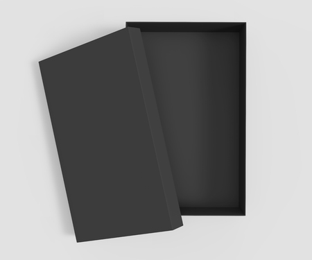 3d rendering black blank half open box with lid, isolated light gray background top view