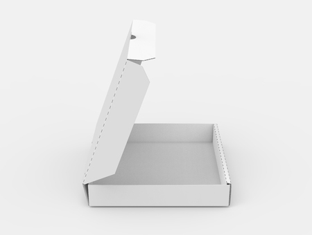 contain: 3d rendering white blank right tilt open pizza box, isolated white background elevated view