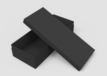 3d rendering black blank half open box and lid, placed in cross shape, isolated light gray background elevated view 版權商用圖片