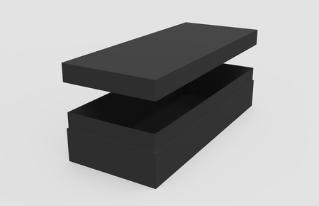 3d rendering left tilt black blank slightly open box with floating lid, isolated light gray background elevated view Stock Photo
