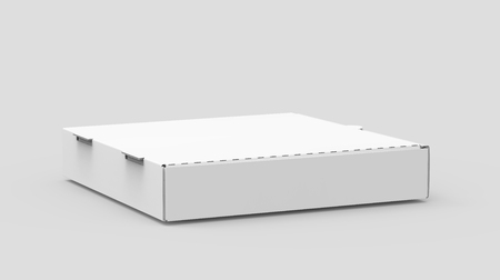 3d rendering white blank right tilt closed pizza box, isolated light gray background elevated view 版權商用圖片 - 81213551
