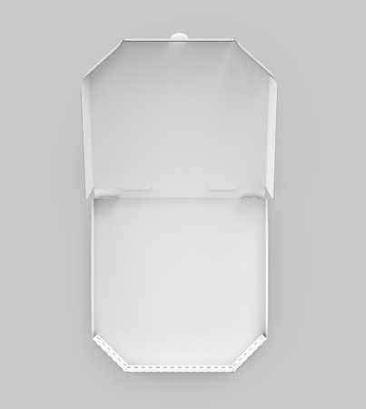 contain: 3d rendering white blank open pizza box, isolated gray background top view
