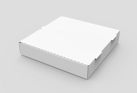 3D-rendering witte lege linker tilt gesloten pizzadoos, geïsoleerde lichtgrijze achtergrond verhoogde weergave