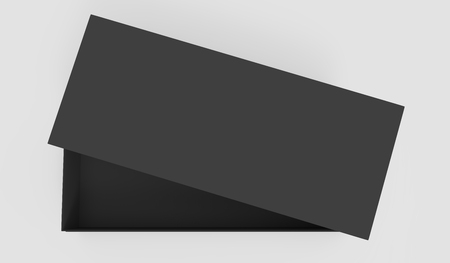 3d rendering black blank half open box with right tilt lid, isolated light gray background top view Stock fotó