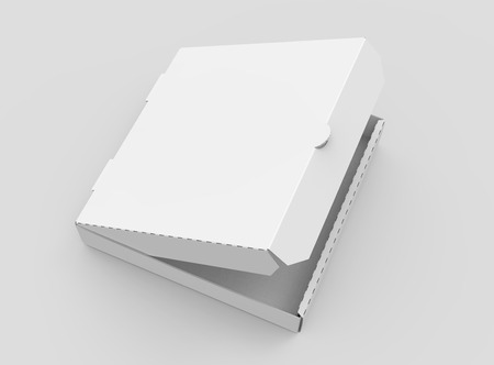3d rendering white blank right tilt slightly open pizza box, isolated light gray background elevated view