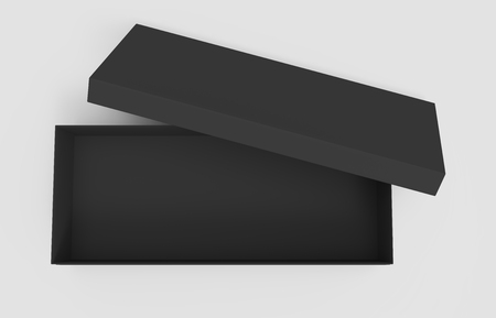 3d rendering black blank open box with right tilt lid, isolated light gray background top view