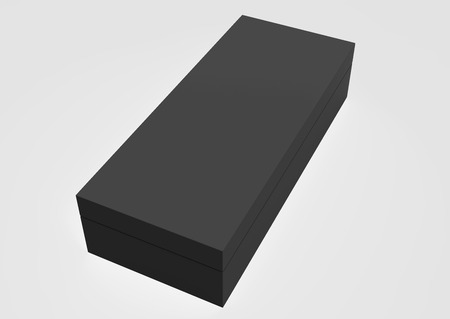 3d rendering left tilt black closed blank box with lid, isolated light gray background elevated view