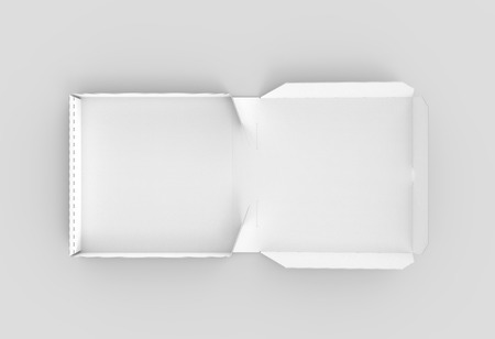 3d rendering white blank left tilt open pizza box, isolated light gray background top view 写真素材
