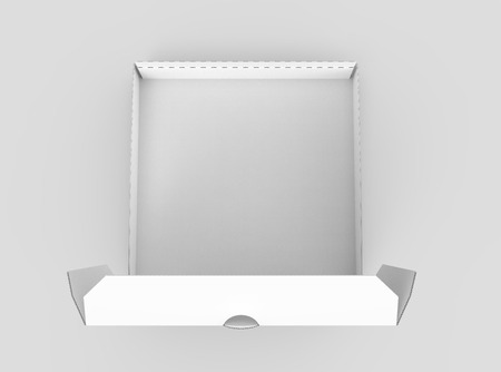 contain: 3d rendering white blank open pizza box, isolated light gray background top view