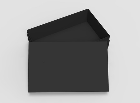 contain: 3d rendering black blank half open box with lid, isolated light gray background elevated view