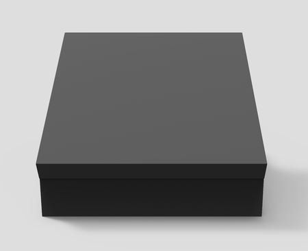 contain: black blank closed paper box with lid, isolated gray background, 3d rendering elevated view