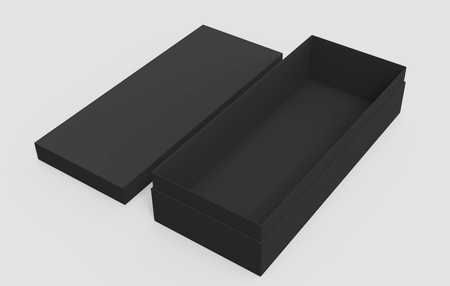 3d rendering left tilt black blank open box and lid on the ground, isolated light gray background elevated view 版權商用圖片