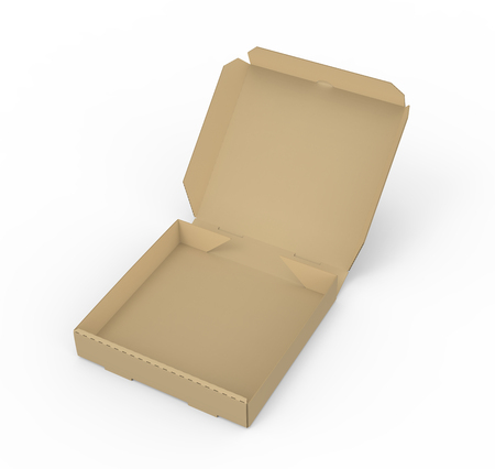 3d rendering left tilt open blank brown pizza box, isolated white background, elevated view