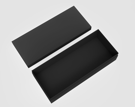 contain: 3d rendering left tilt black blank open box and lid on the ground, isolated light gray background top view