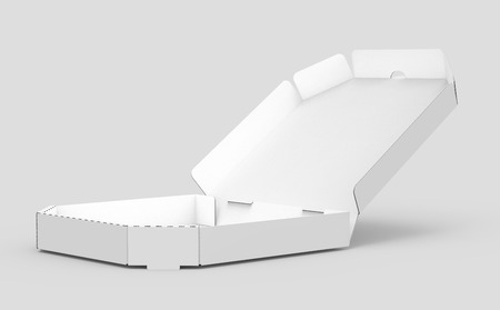 3d rendering white blank left tilt open pizza box, isolated gray background elevated view