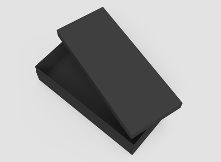 3d rendering black right tilt blank half open box with lid, isolated light gray background top view
