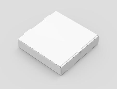 3d che rende la scatola chiusa di pizza di inclinazione giusta bianca di destra, vista elevata del fondo grigio chiaro isolato elevata Archivio Fotografico - 81163534