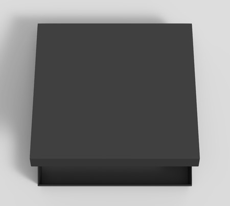 opening black blank paper box with lid, isolated gray background, 3d rendering top view