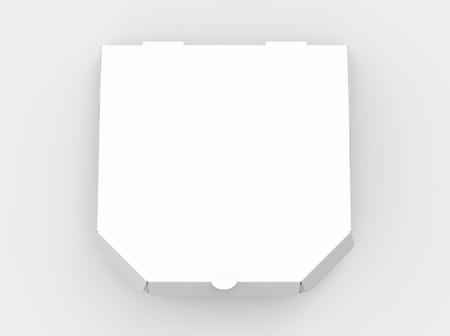 3 d レンダリング白空白閉じたピザ箱、分離の明るい灰色の背景上のビュー