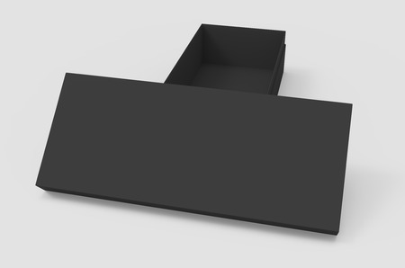 3d rendering black blank half open box and lid, placed in T shape, isolated light gray background elevated view Stock Photo