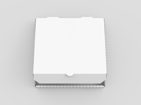 3d rendering white blank slightly open pizza box, isolated light gray background top view 版權商用圖片