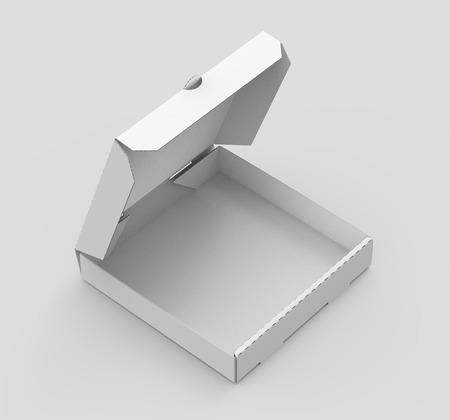 contain: 3d rendering white blank right tilt open pizza box, isolated light gray background elevated view