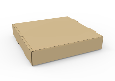 3d rendering left tilt closed blank brown pizza box, isolated white background, elevated view