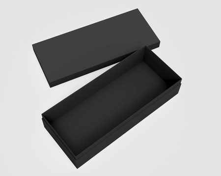 3d rendering left tilt black blank open box with floating lid, isolated light gray background elevated view