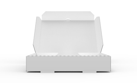 contain: 3d rendering white blank open pizza box, isolated white background side view Stock Photo