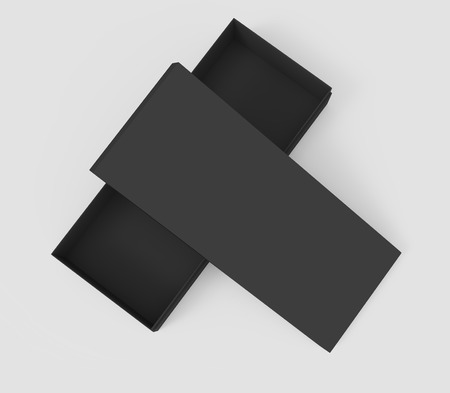 3d rendering black blank half open box and lid, placed in cross shape, isolated light gray background top view 版權商用圖片