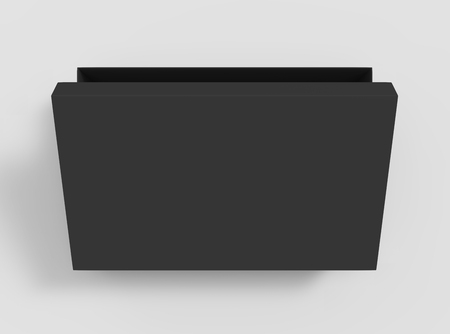 3d rendering black blank slightly open box with lid, isolated light gray background top view