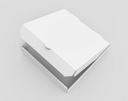 3d rendering white blank left tilt slightly open pizza box, isolated light gray background elevated view