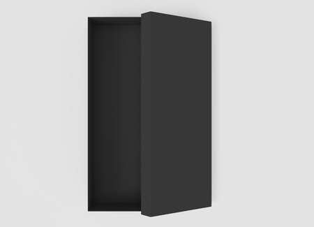 contain: 3d rendering black blank half open box with lid, isolated light gray background top view