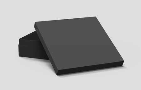 black blank paper box with right tilt leaning lid, isolated gray background, 3d rendering elevated view