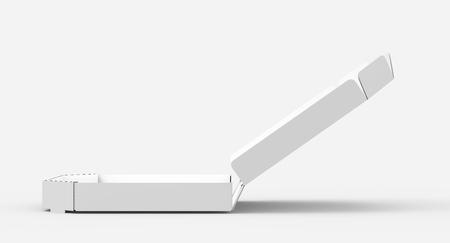 3d rendering white blank left tilt open pizza box, isolated white background side view 版權商用圖片