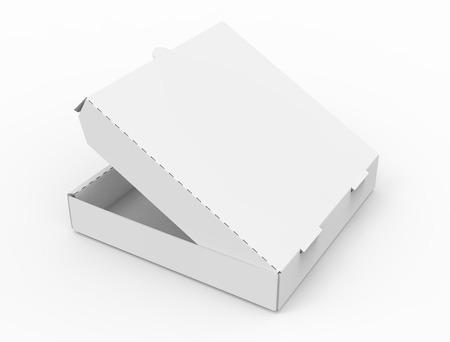 3d rendering white blank left tilt slightly open pizza box, isolated white background elevated view 版權商用圖片