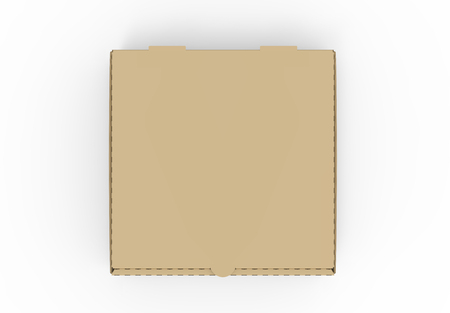 3d rendering closed blank brown pizza box, isolated white background, top view