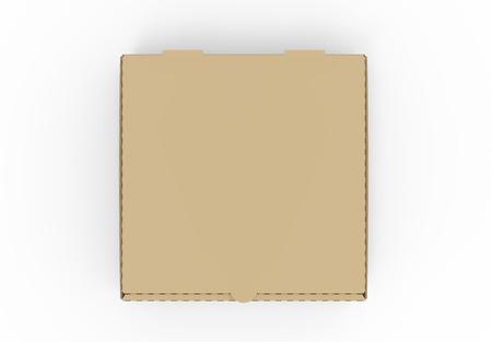 3d teruggevende gesloten lege bruine pizzadoos, geïsoleerde witte achtergrond, hoogste mening