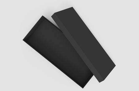 3d rendering black right tilt blank open box with lid, isolated light gray background top view 版權商用圖片