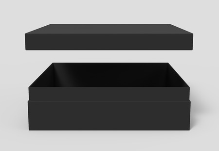 black blank paper open box with floating lid, isolated gray background, 3d rendering side view