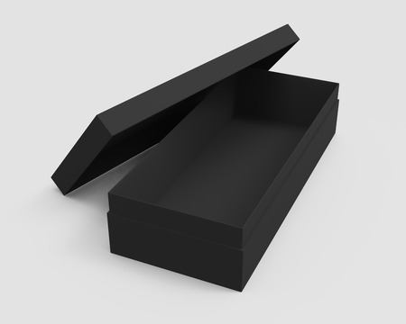 3d rendering left tilt black blank open box with lid, isolated light gray background elevated view Stock fotó